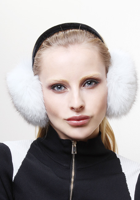 White Fox Fur Ear Muffs