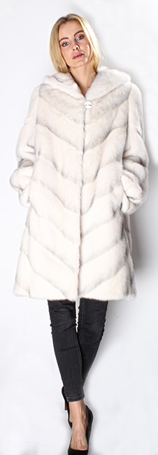 White Shadow Directional Mink Fur Jacket Hood