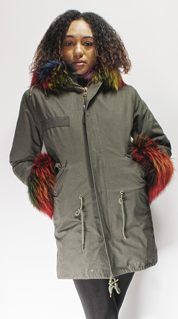 Military Green Multi Colored Fox Fur Lined Parka Hood