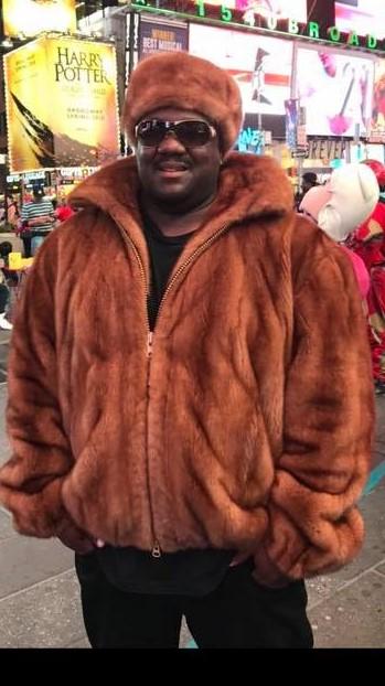 Sheik Shon Wearing Marc Kaufman Furs Whiskey Bomber jacket NY