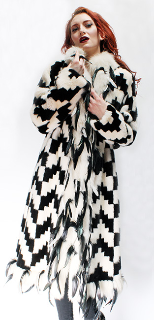 Black White Mink Fur Coat White Fox Fur Trim Black Leather Feathers