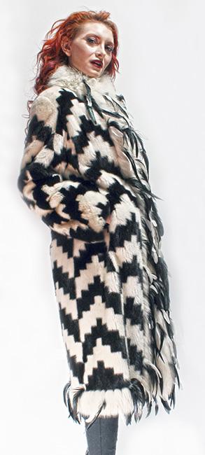 Black White Mink Fur Coat White Fox Fur Trim Black Leather Feathers