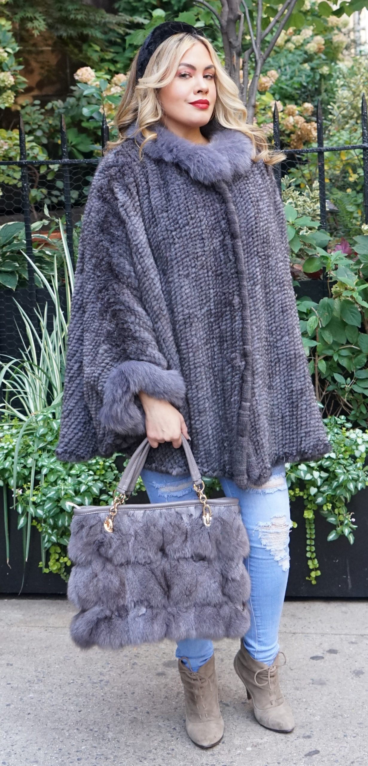 Grey Mink Fur Poncho Fox Fur Collar Cuffs