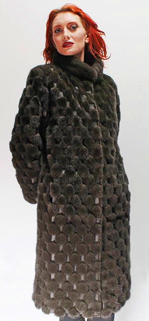 Dark Green Mink Fur Coat Leather Inserts