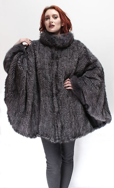 Gray Mink Fur Poncho Fox Fur Collar Cuffs