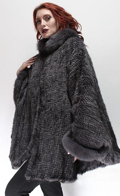 Gray Mink Fur Poncho Fox Fur Collar Cuffs