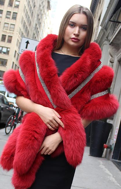 Red Fox Boa Rhinestones