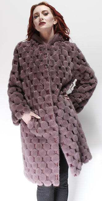 Light Pink Mink Fur Coat Leather Inserts