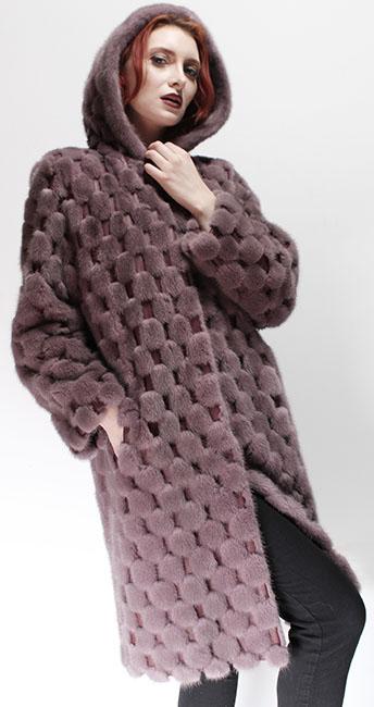 Light Pink Mink Fur Coat Leather Inserts