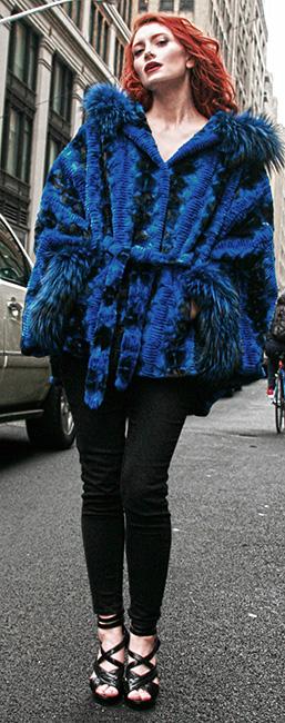 Sculptured Lazor Cut Blue Dyed Mink Fur Blue Dyed Silver Fox Trim Cape With Hood
