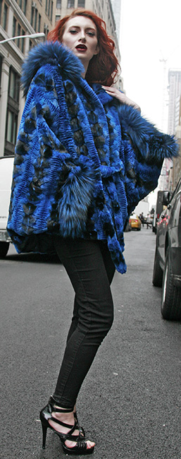 Sculptured Lazor Cut Blue Dyed Mink Fur Blue Dyed Silver Fox Trim Cape With Hood