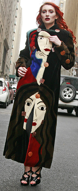 Picasso Collection Multi Colored Sheared Mink Fur Coat