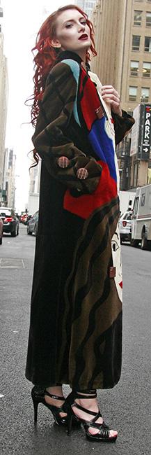 Picasso Collection Multi Colored Sheared Mink Fur Coat