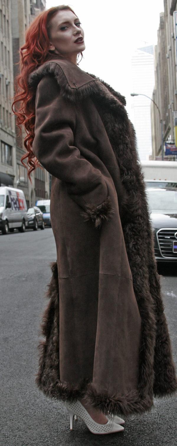 Brown Reversible Shearling Coat