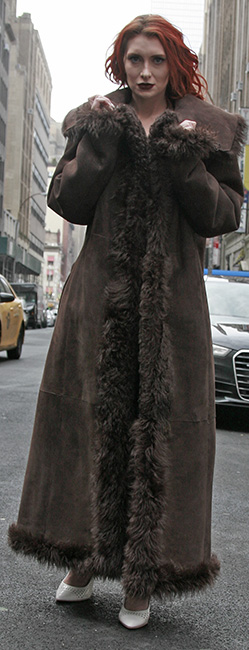 Brown Reversible Shearling Coat