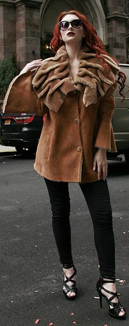 Tan Shearling Jacket Sharpei Collar