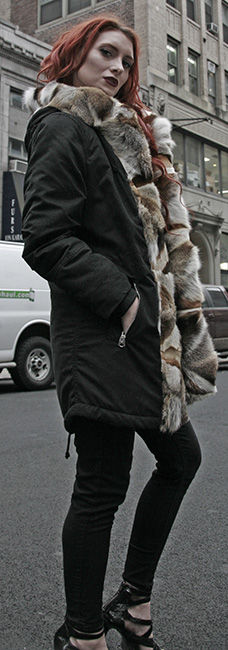 Three Toned Gray Fox Fur Trim Parka with Hood