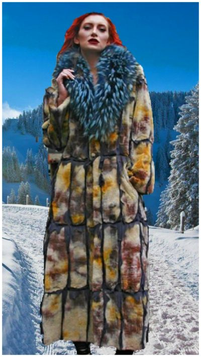 tye dyed reversible sheared mink fur coat