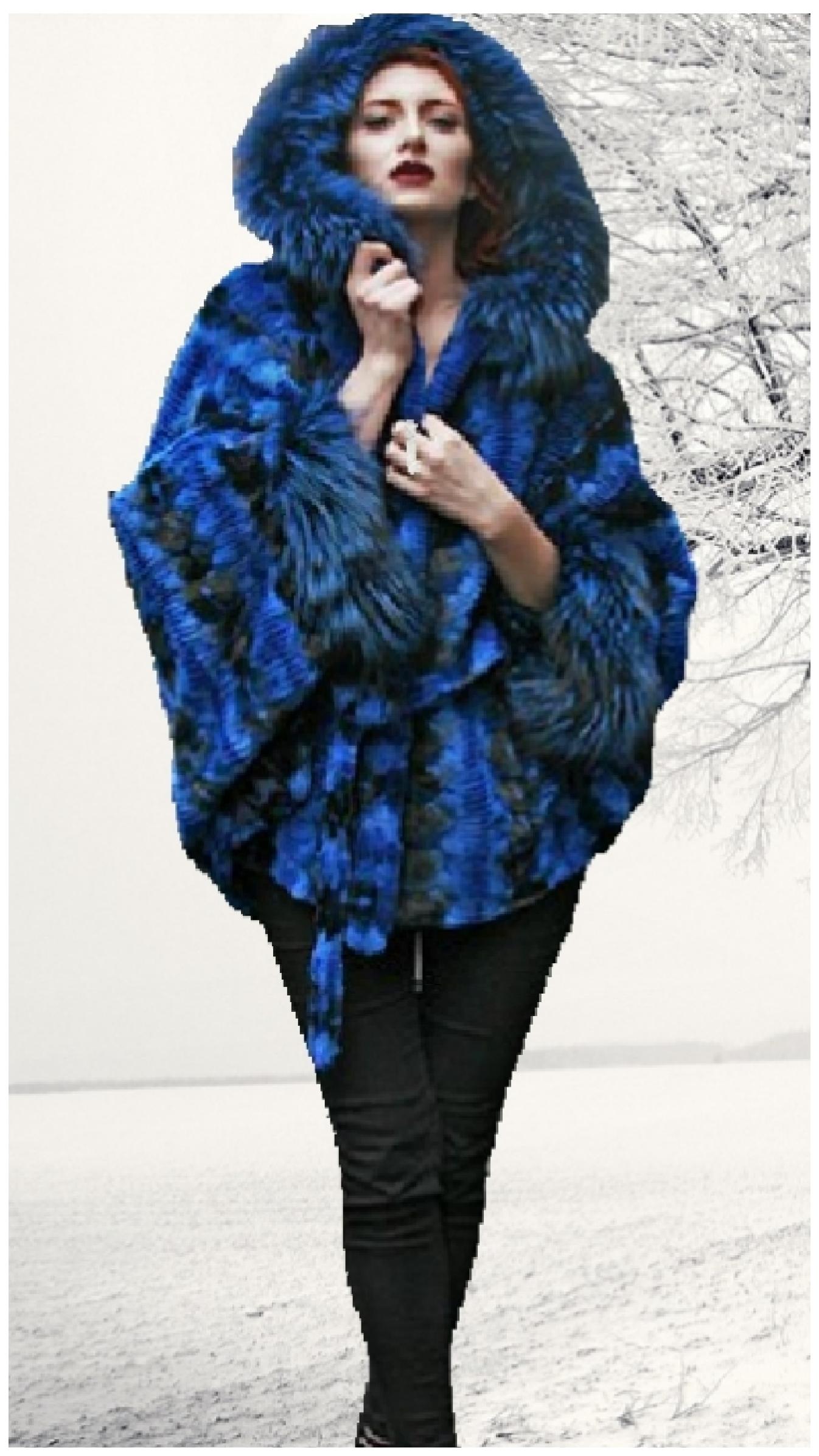 lazor cut blue dyed mink fur cape