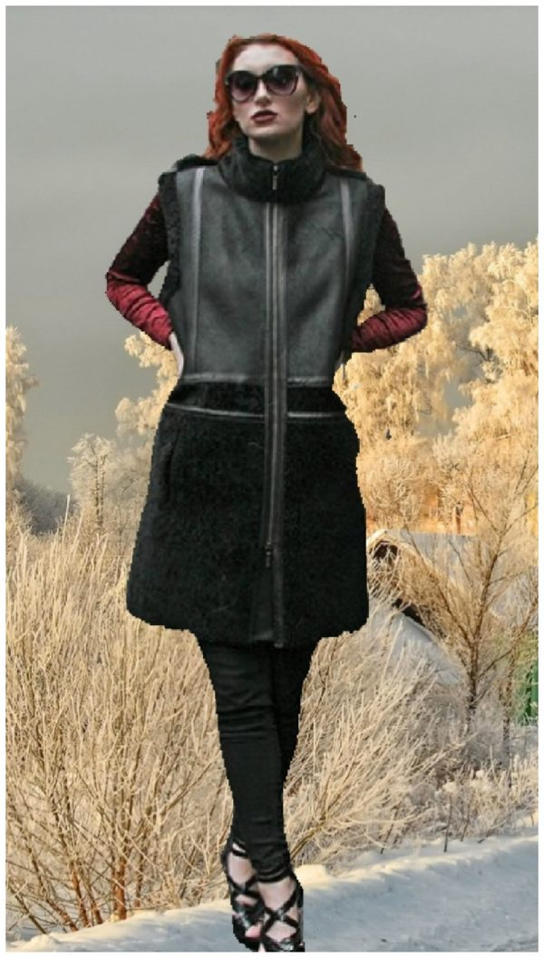 black four toned nappa shearling and suede vest