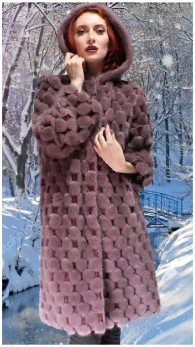 lavender mink fur coat leather inserts