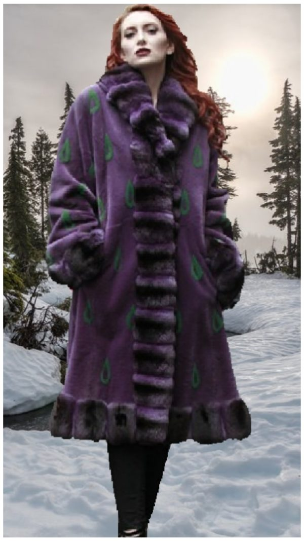 purple sheared mink fur coat purple chinchilla cuffs trim
