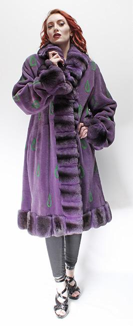 Purple Sheared Mink Fur Coat Purple Chinchilla Collar Cuffs and Trim