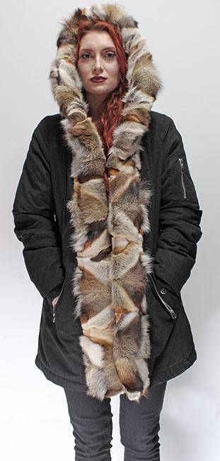 Three Toned Gray Fox Fur Trim Parka with Hood