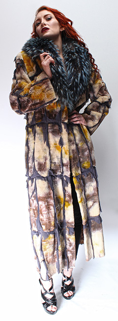 Tye Dyed Reversible Sheared Mink Fur Coat Dyed Silver Fox Collar Silver Inserts