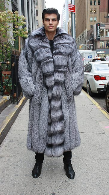 Mens Silver Fox Fur Coat