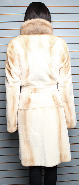 Belted Camel Colored Rex Rabbit Fur Coat with Sable Collar