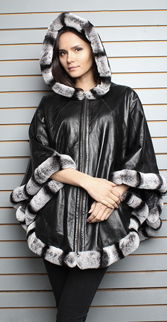 Black Leather Cape with Hood Rex Rabbit Fur Trim and Cuffs