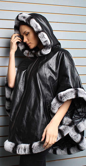 Black Leather Cape with Hood Chinchilla Fur Trim and Cuffs