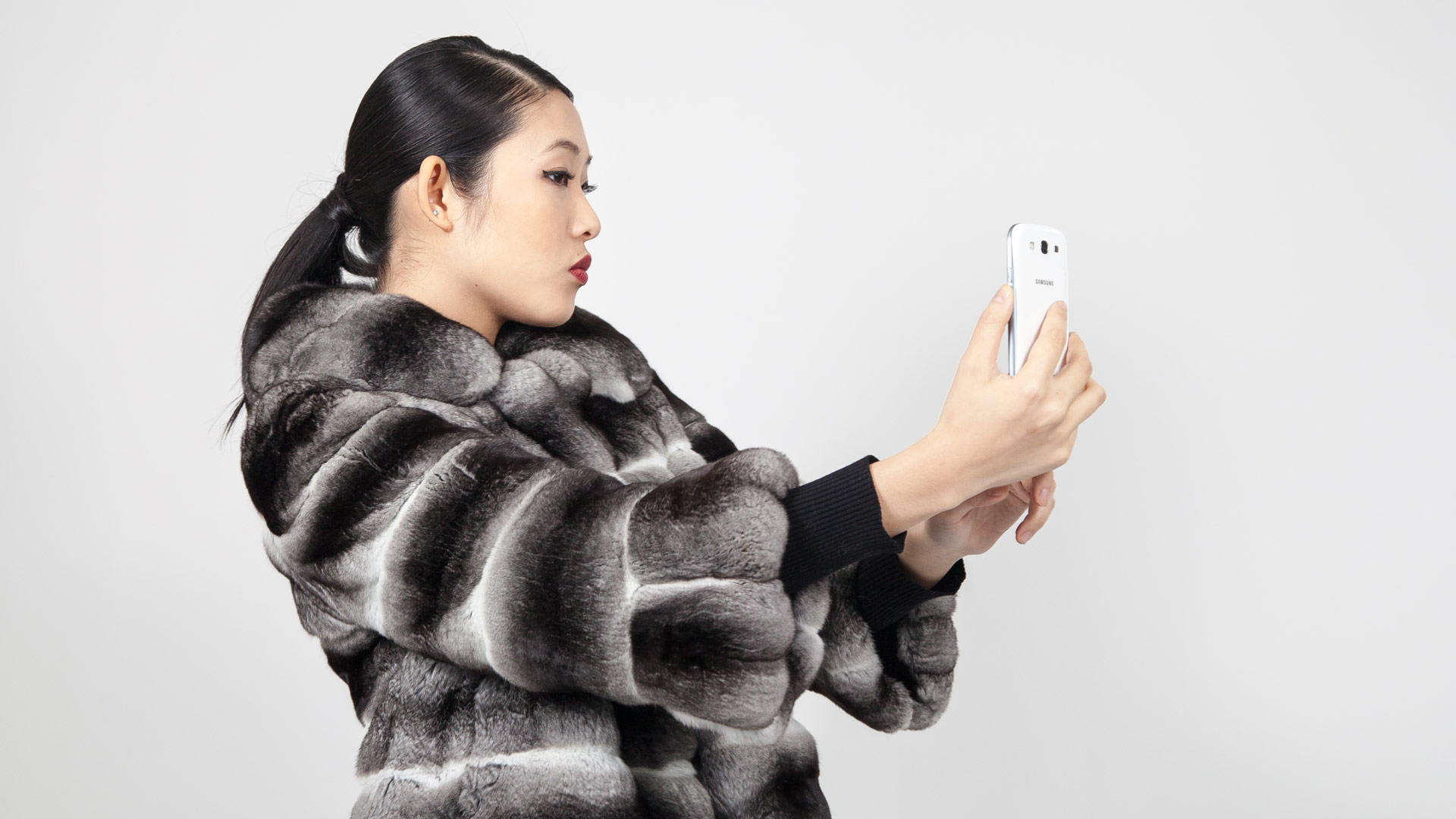 Chinchilla Fur Jacket with Bell Sleeves Marc Kaufman Furs