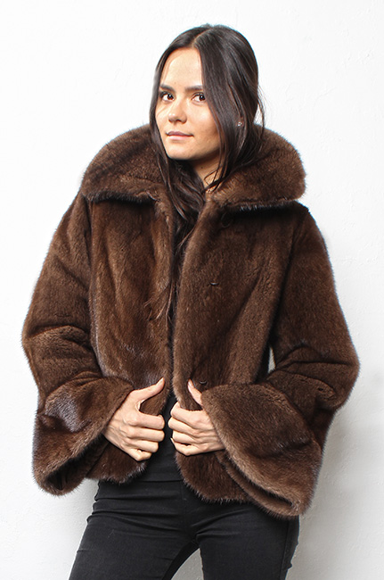 Casual Mahogany Mink Fur Jacket Bell Sleeves