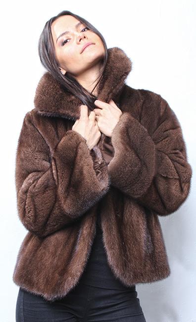 Designer Mahogany Mink Fur Jacket