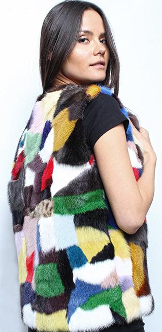 Multi Colored Mink Fur Vest