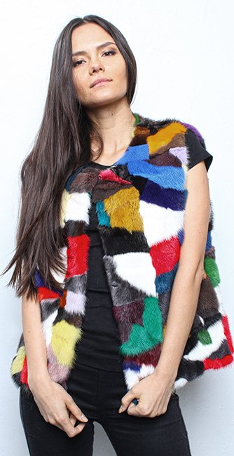 Multi Colored Mink Fur Vest