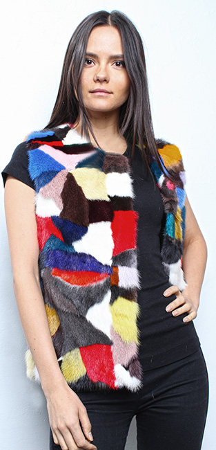 Sporty Multi Colored Mink Fur Vest
