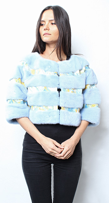 Powder Blue Mink Fur Cape with Artistic Leather Inserts
