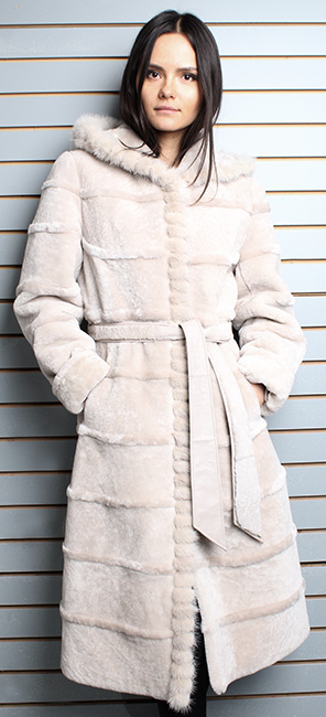 Beige Belted Mouton Fur Coat with Hood Warmest Fur Ever