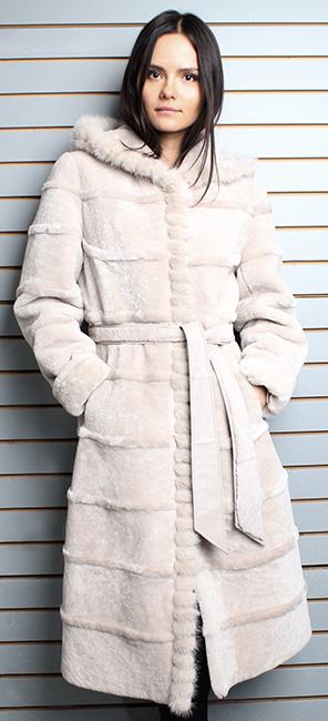 Beige Belted Mouton Fur Coat with Hood Warmest Fur Ever