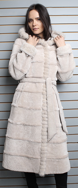 Beige Belted Mouton Fur Coat with Hood