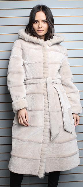 Beige Belted Mouton Fur Coat with Hood