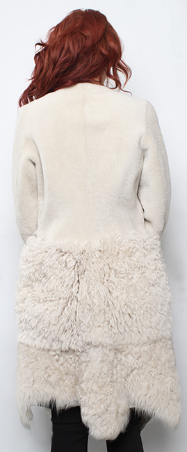 Beige Collarless Shearling Coat