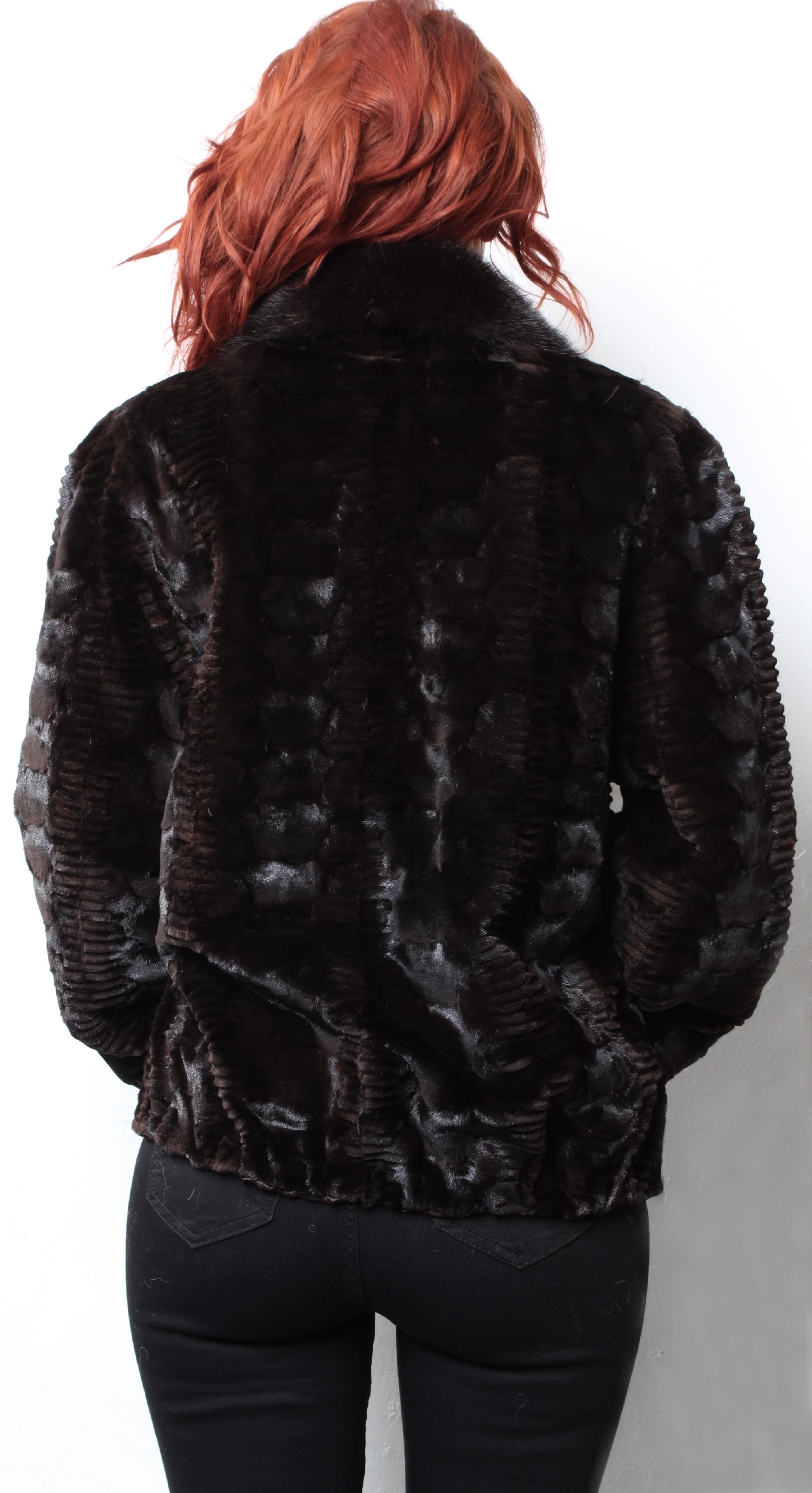 Brown Sculpted Laser Cut Sheared Mink Fur Jacket