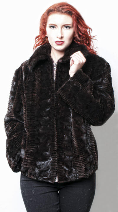 Brown Sculpted Laser Cut Sheared Mink Fur Jacket