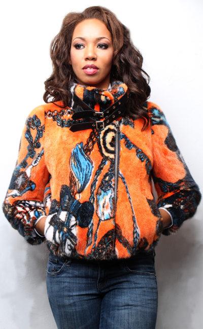 Orange Mink Fur Bomber Jacket