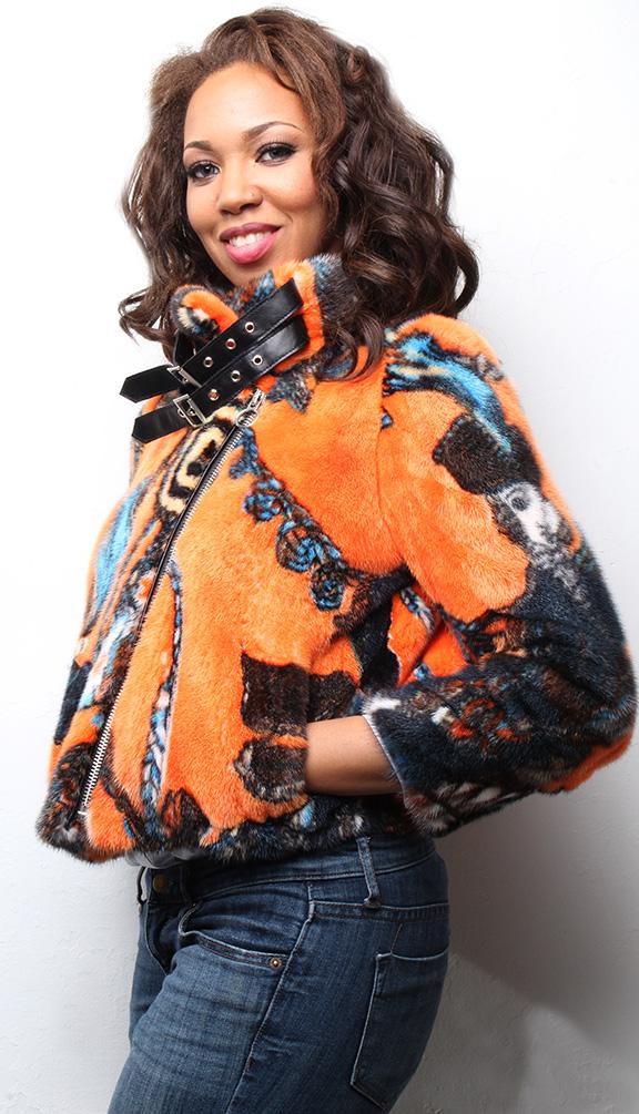 Inspirational Orange Mink Fur Bomber Jacket