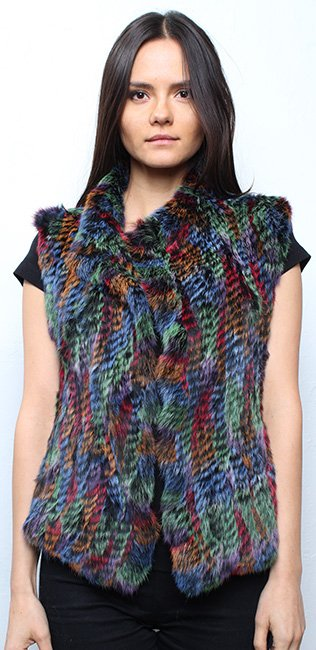 Multi Colored Knit Rabbit Fur Vest